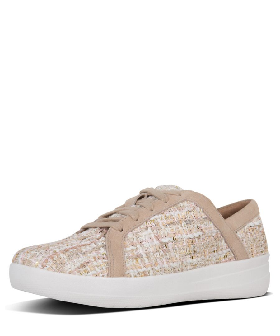 f-sporty white lace up sneakers