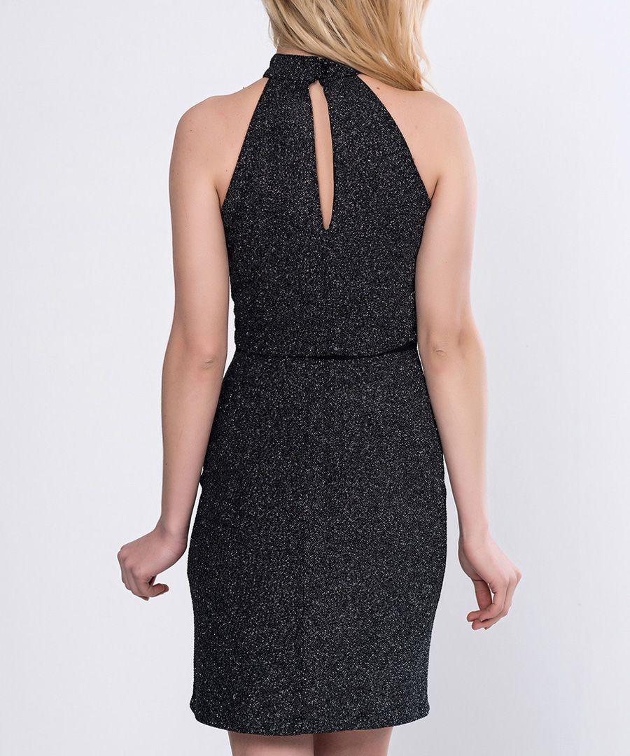 Black glitter high neck mini dress