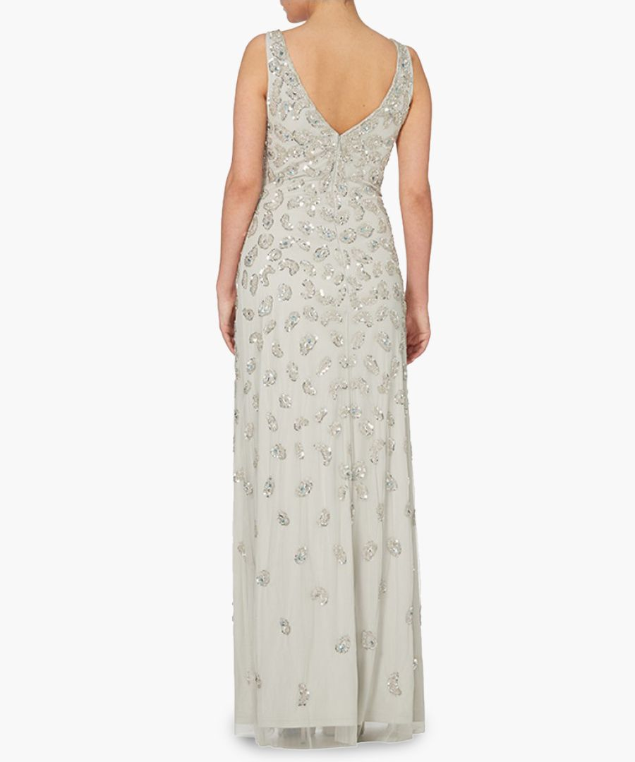 silver-tone scatter V-neck maxi dress