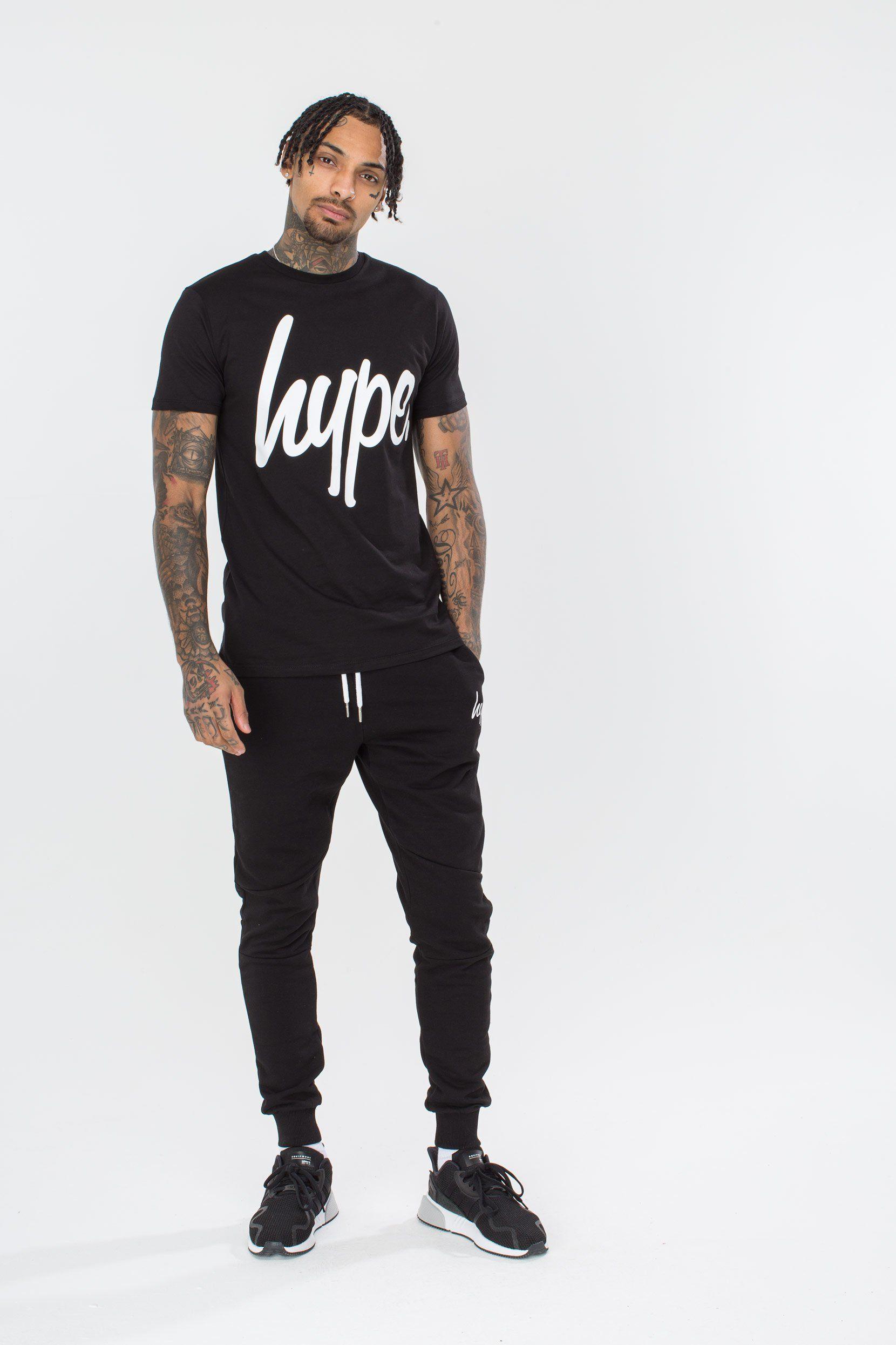 Hype Black Script Mens T-Shirt M