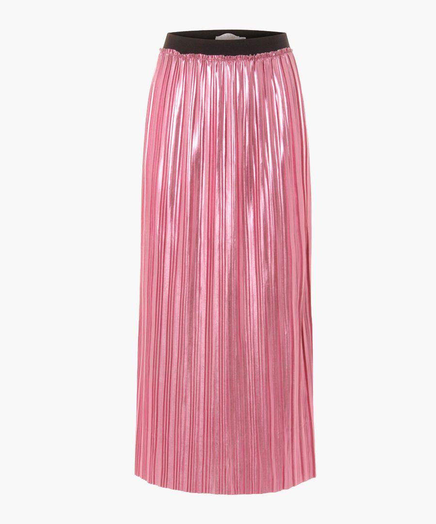Hot pink pleated midi skirt