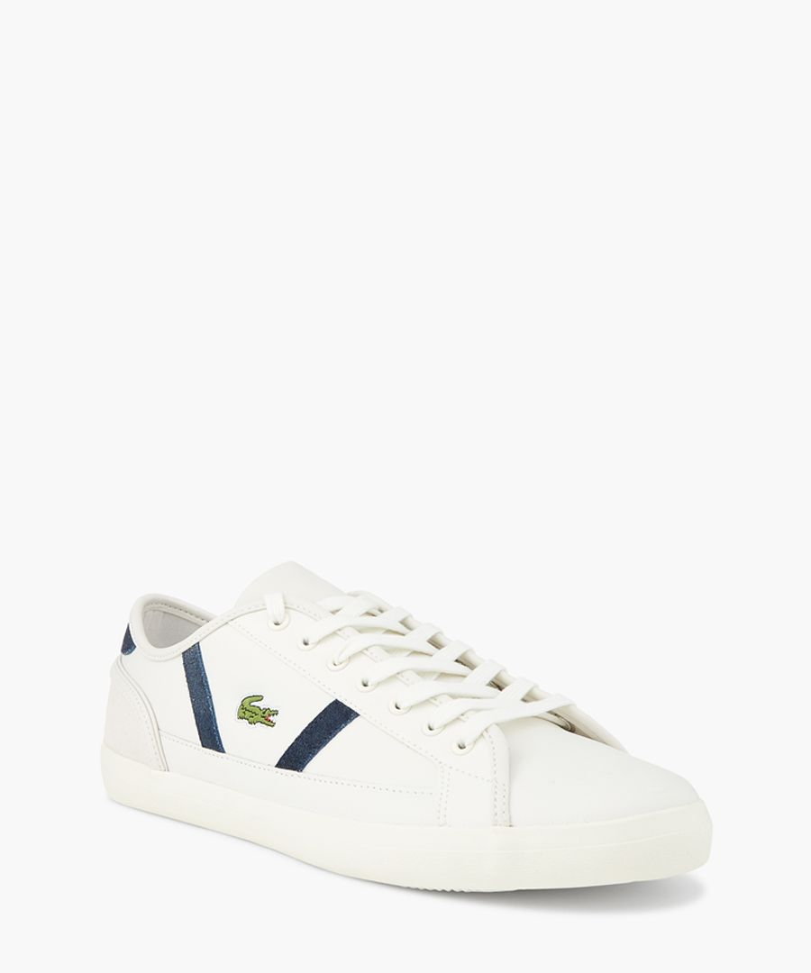 White and navy leather logo trainers