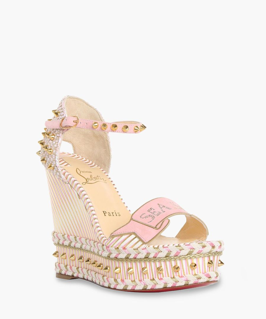 Multi-colour 120 stripe wedge sandals