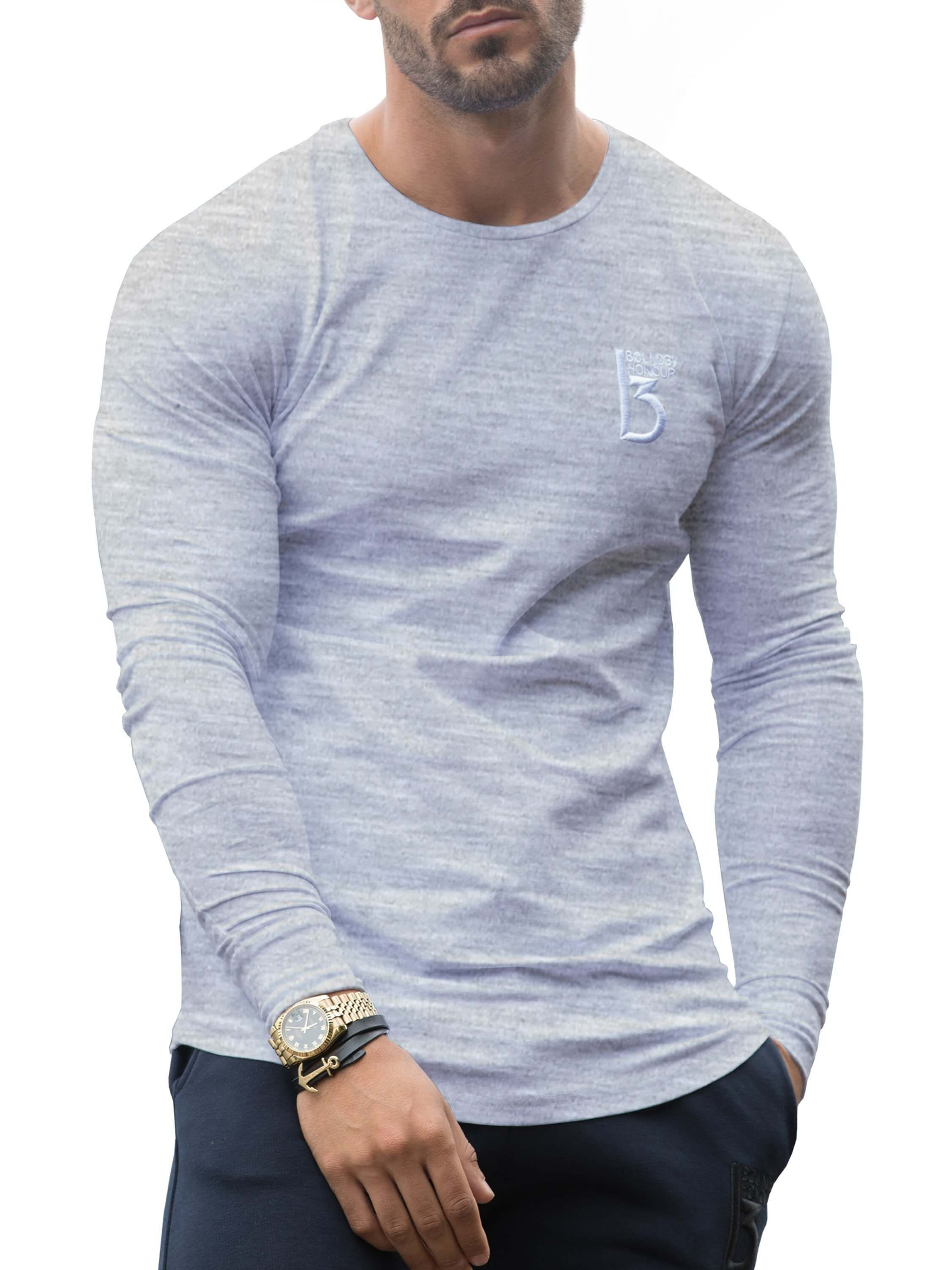 Grey long sleeve muscle fit T-shirt