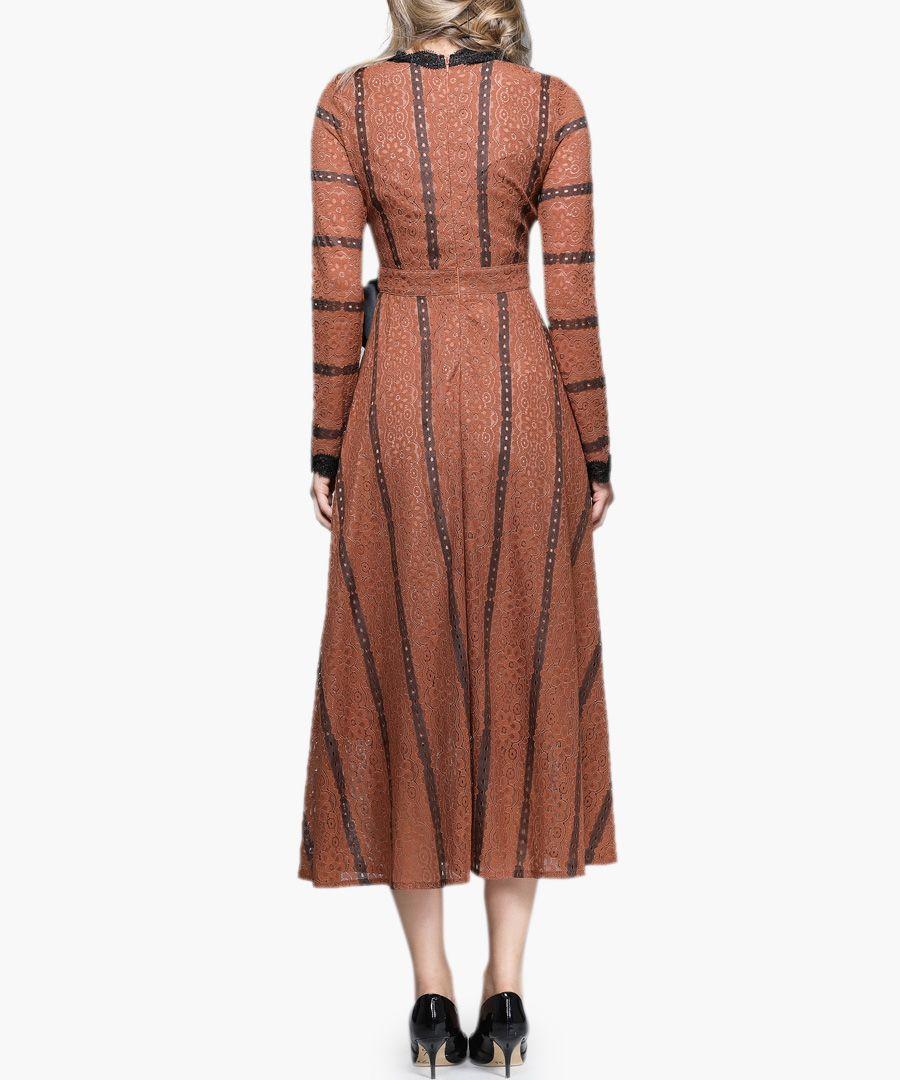 Caramel & black striped wrap dress