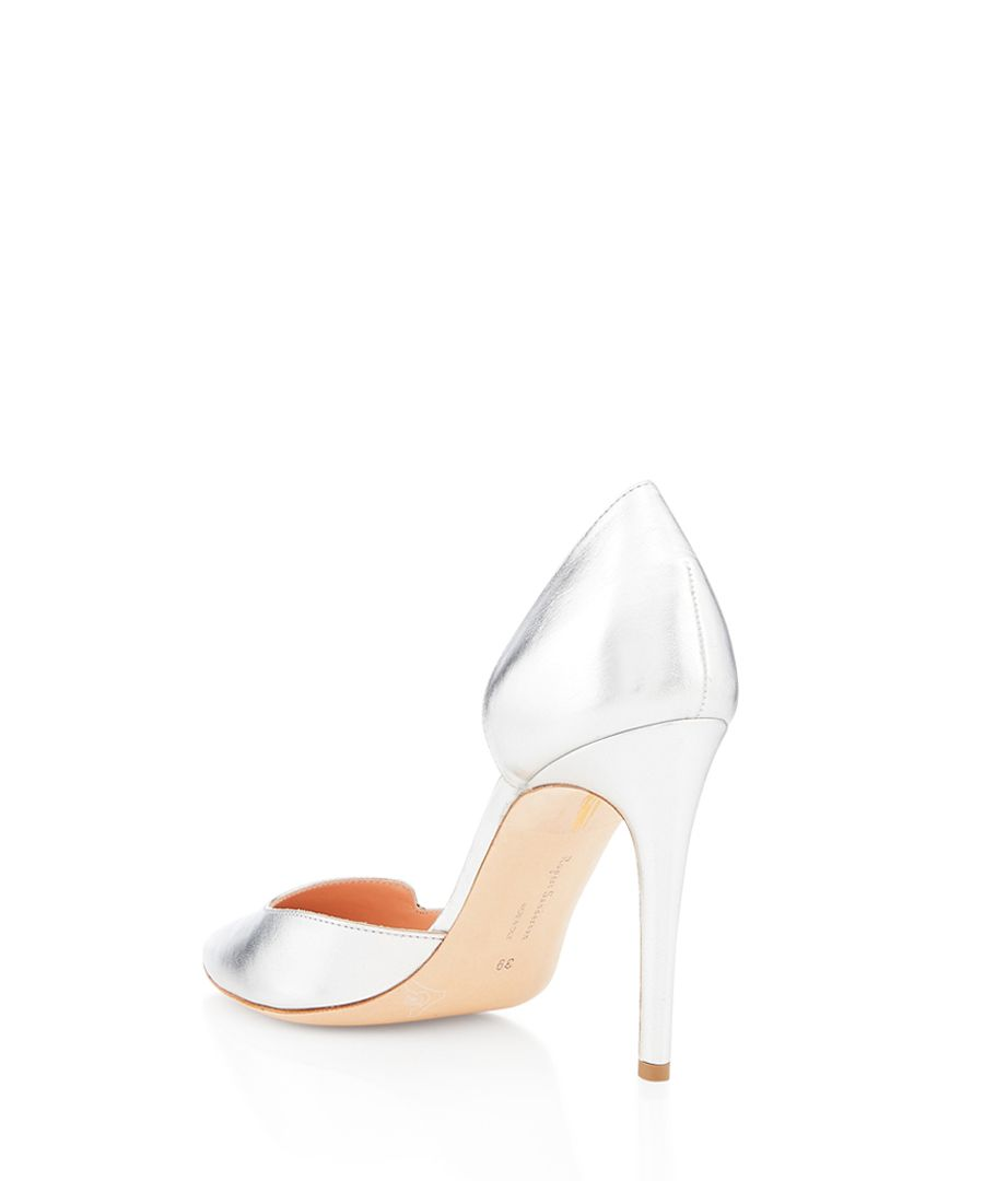 silver-tone nappa leather court heels