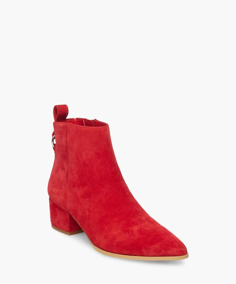 Clover red suede ankle boots
