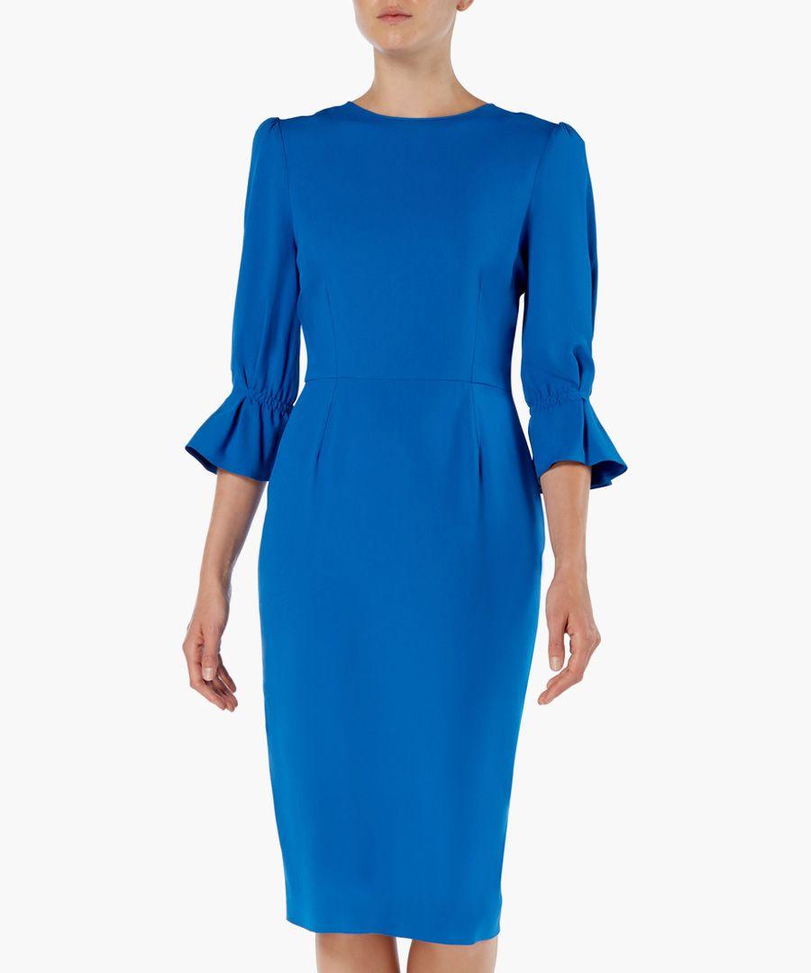 Gaynor blue flare-sleeve pencil dress