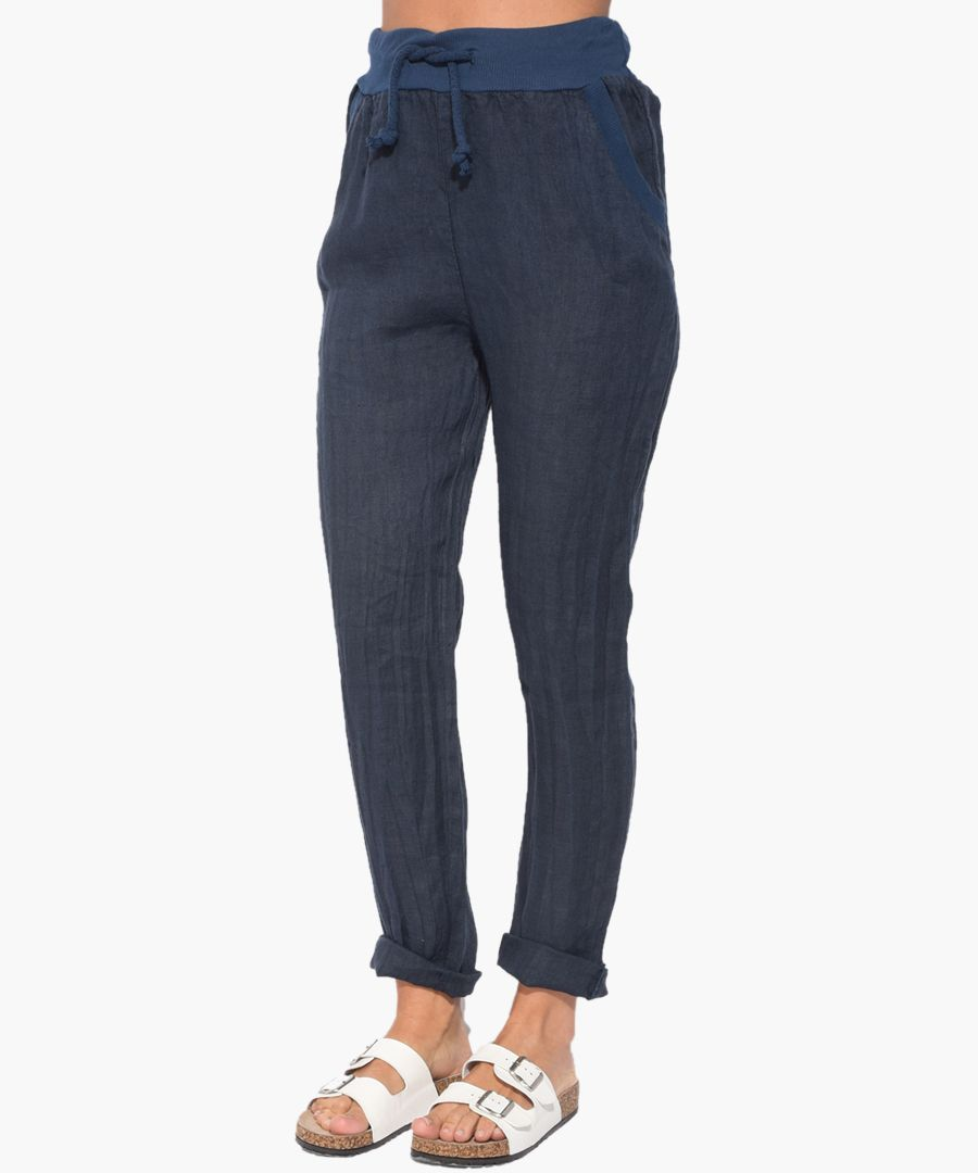 marine pure linen trousers