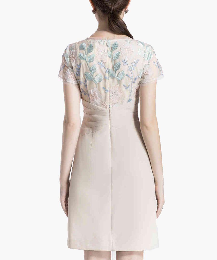 Apricot embroidered mini dress