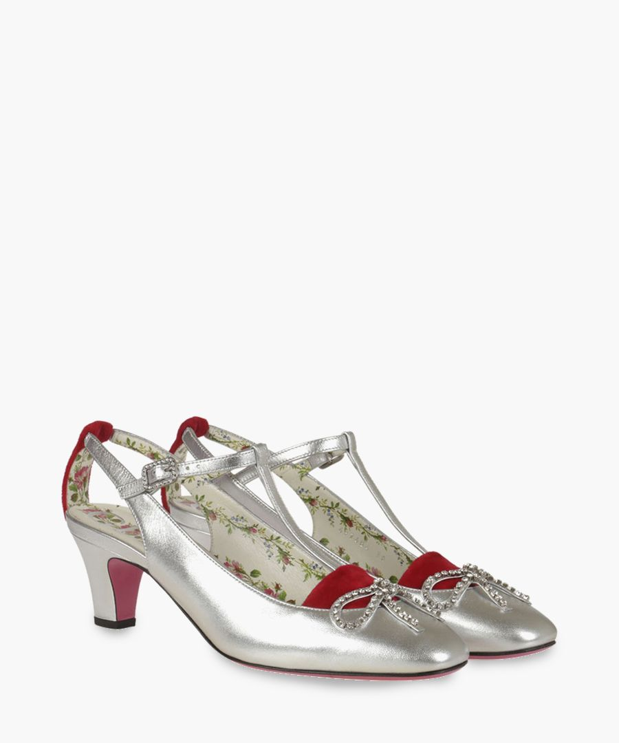 Anita 55 silver-tone leather and velvet pumps