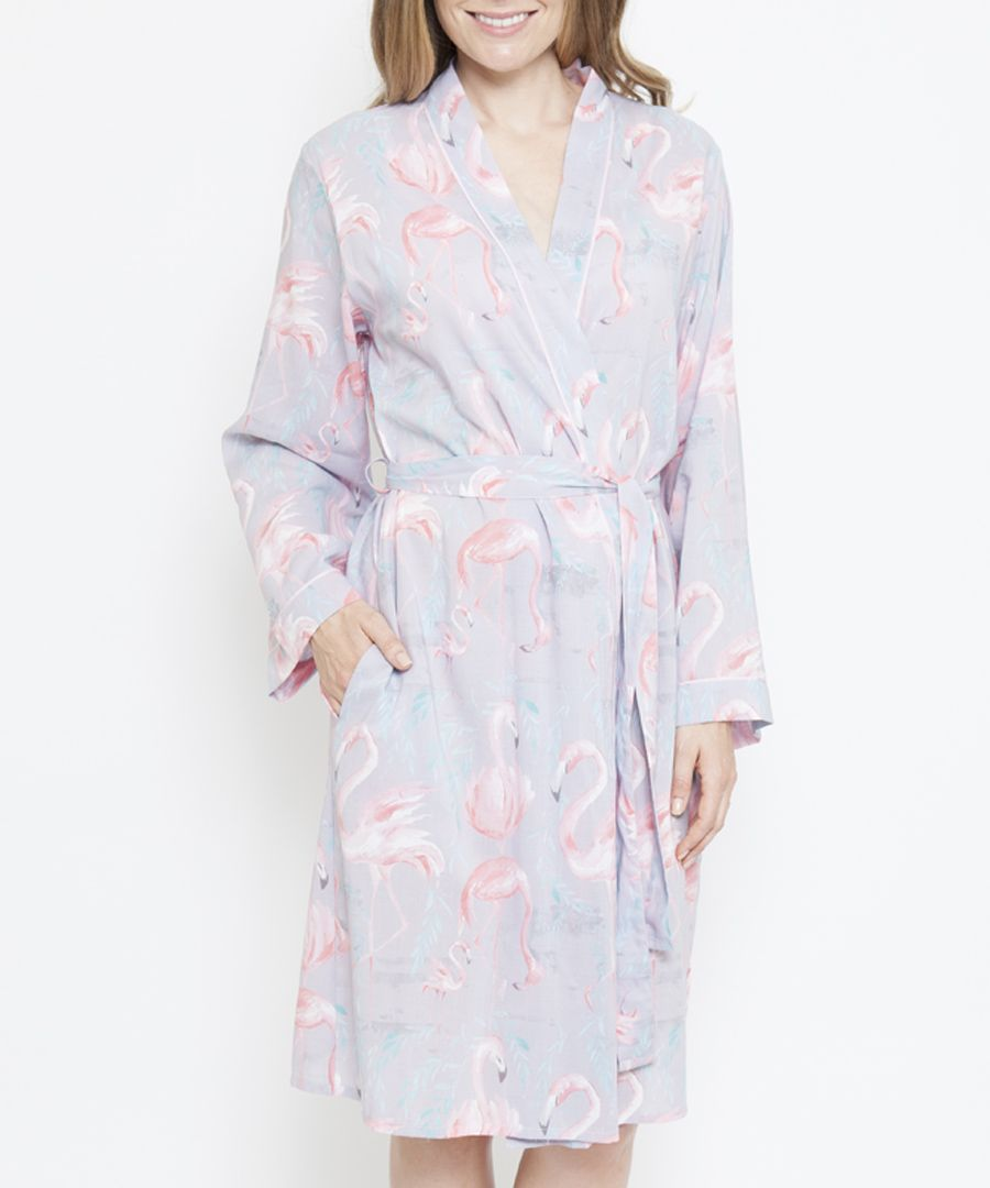 Zara grey cotton-blend flamingo print robe