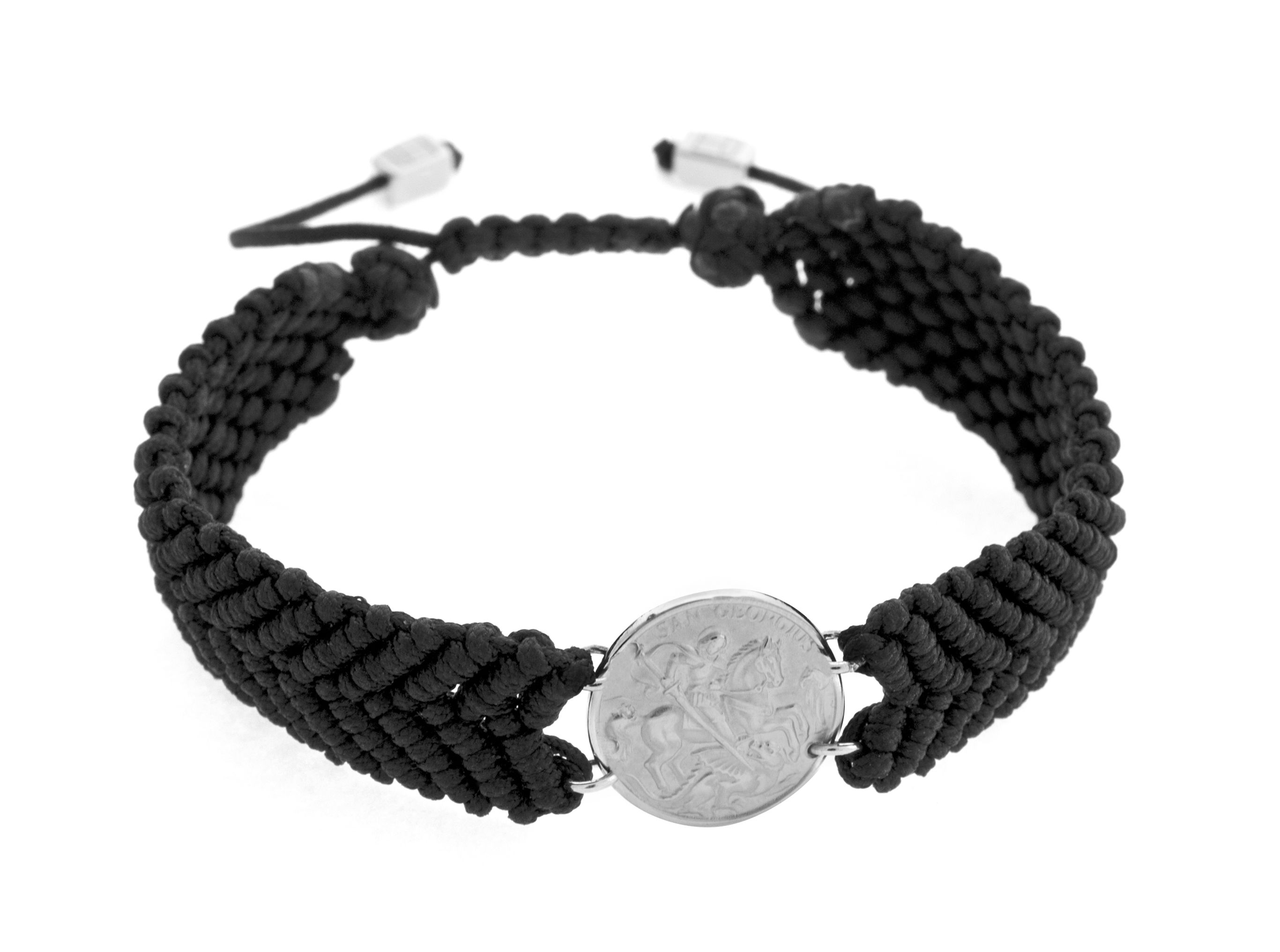 Silver  Black Single wrap  Mens  Med  St George  Medallion-Macrame