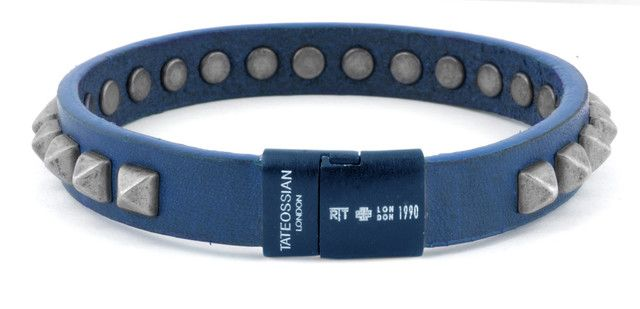 Blue pyramid studs leather bracelet