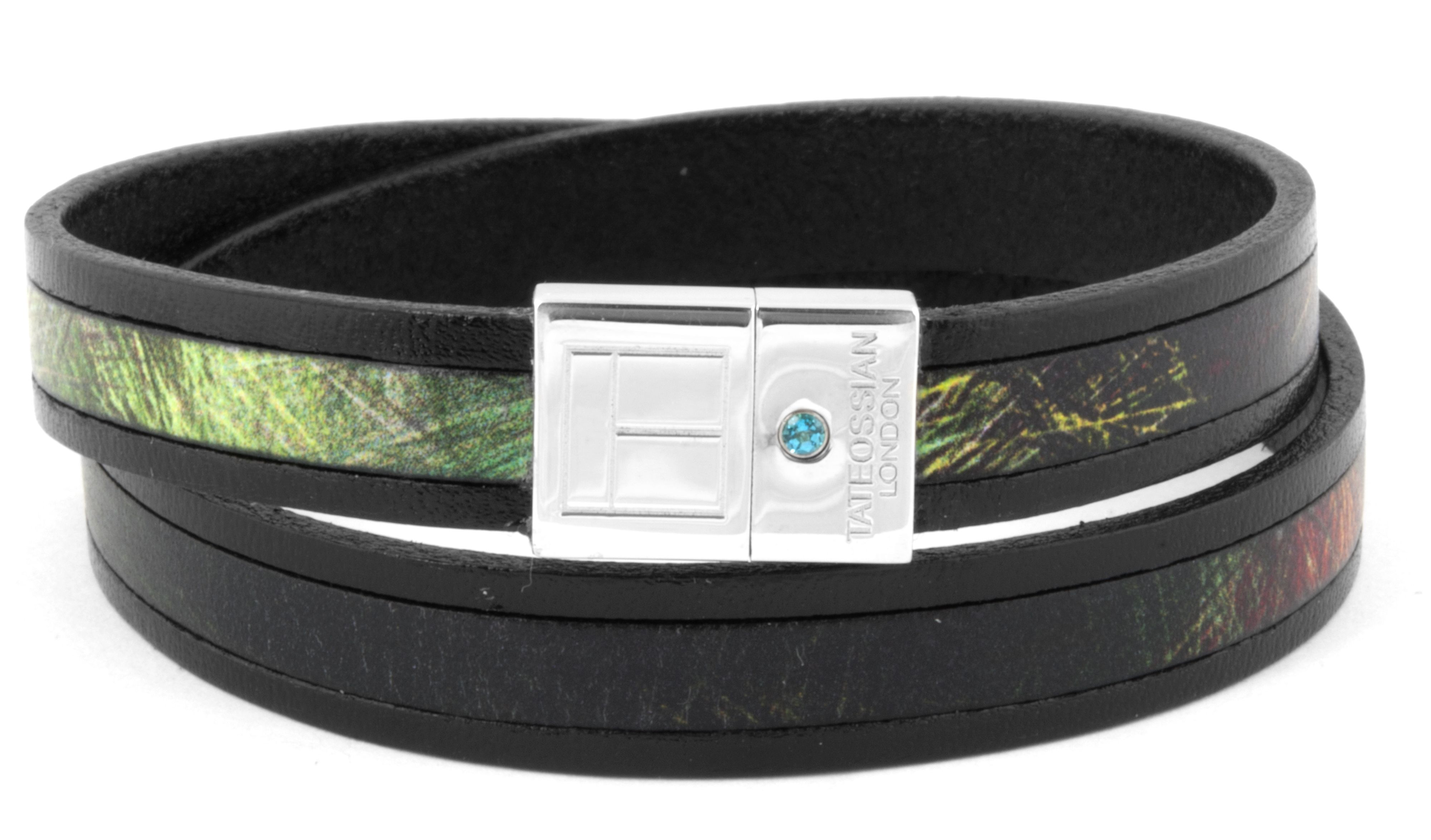 Silver  Leather  Black  Green nature print centred  double  Paraiba  Topaz  M 39cmSlide