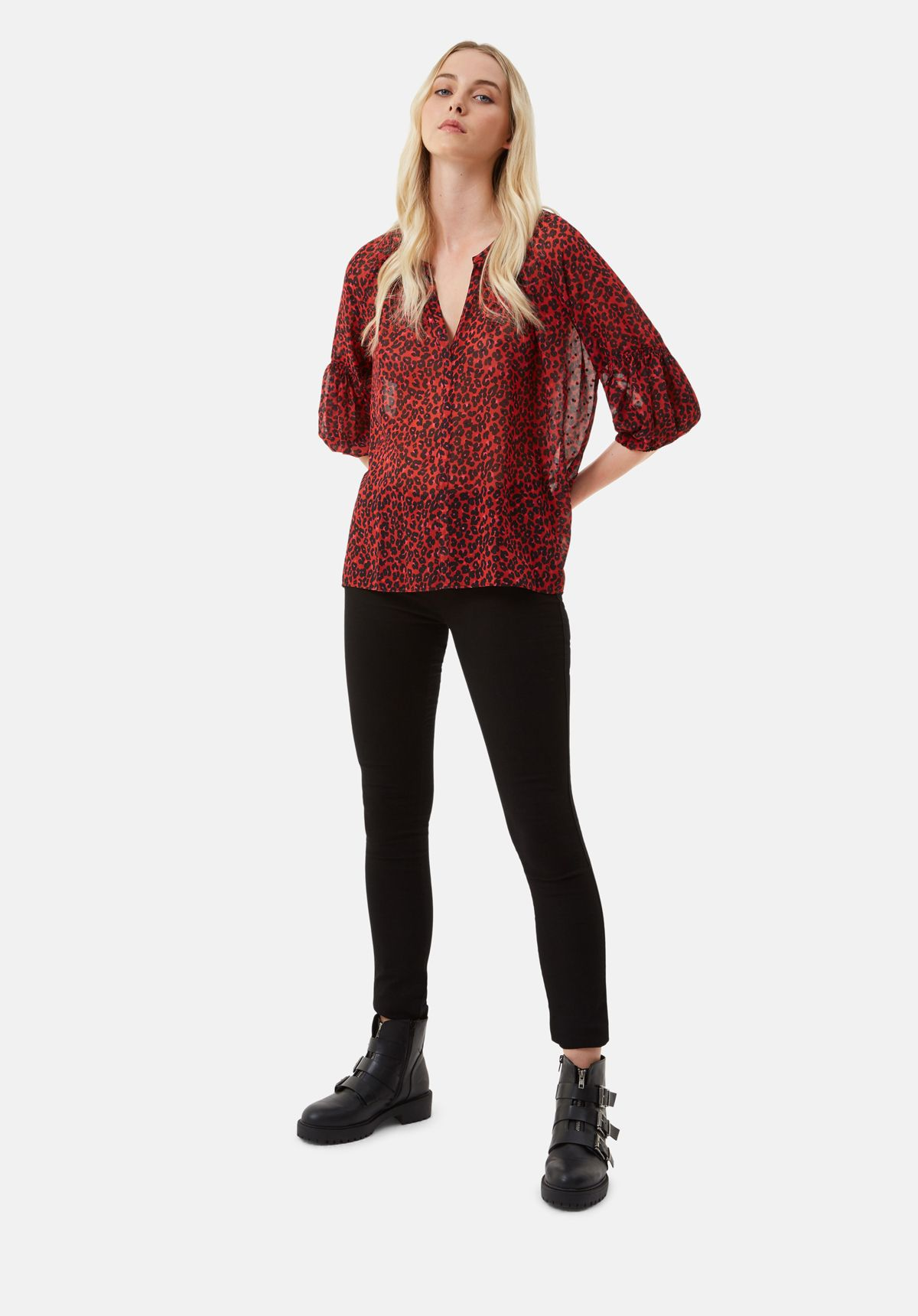 Folklore Animal Print Shirt in Red