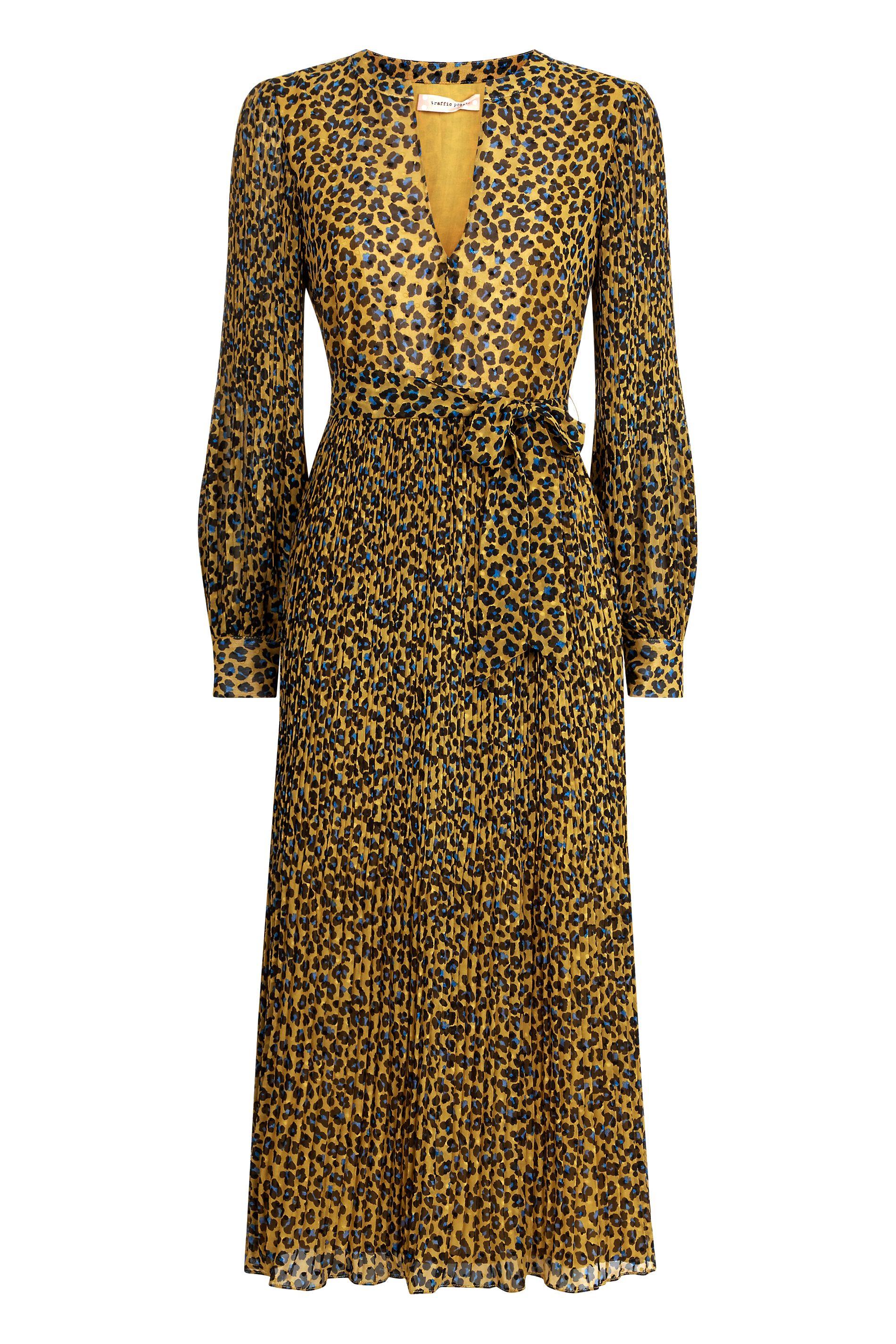 Fallen Animal Print Maxi Dress in Mustard