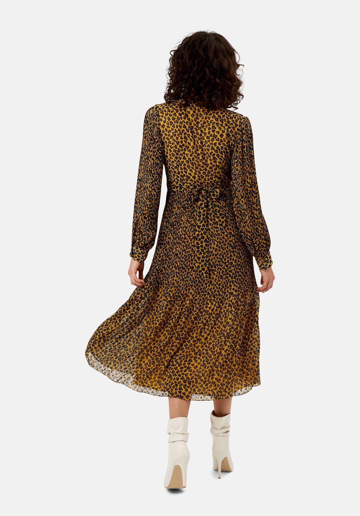 Fallen mustard animal print maxi dress