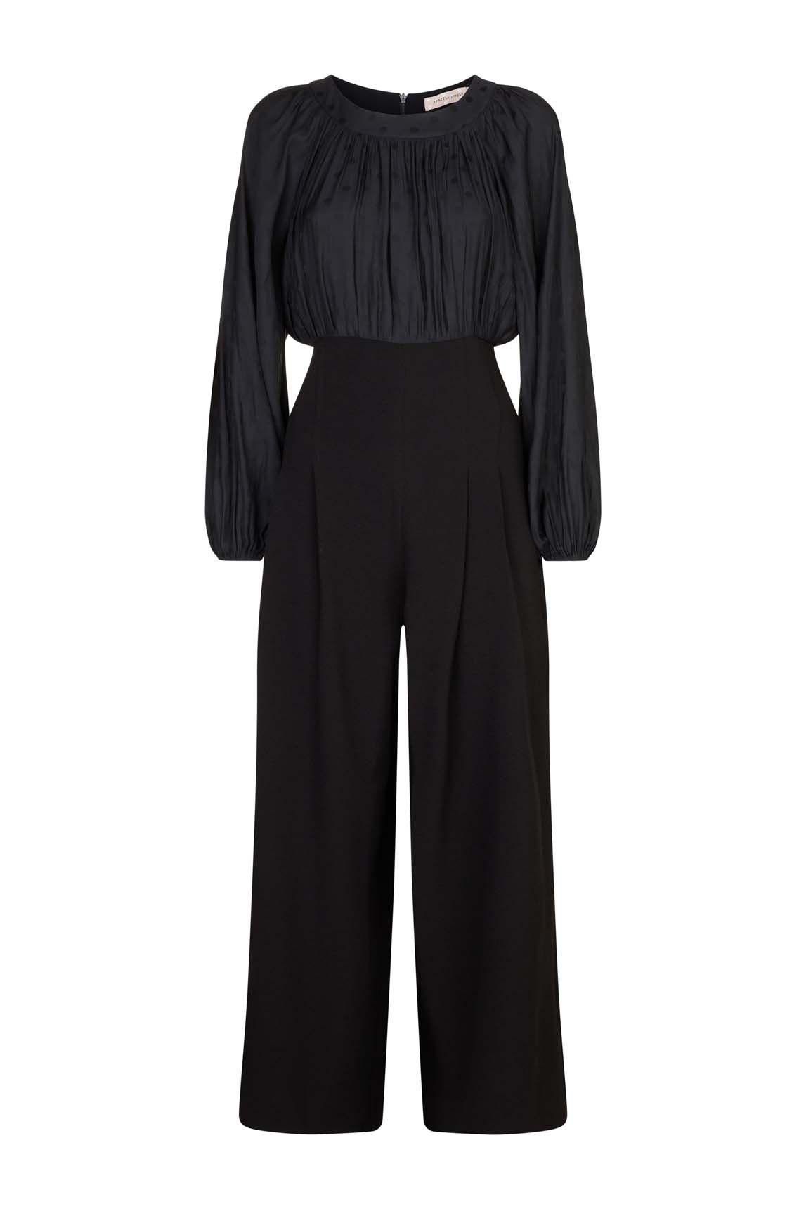 Haughty Polka Dot Long Sleeved Jumpsuit in Black