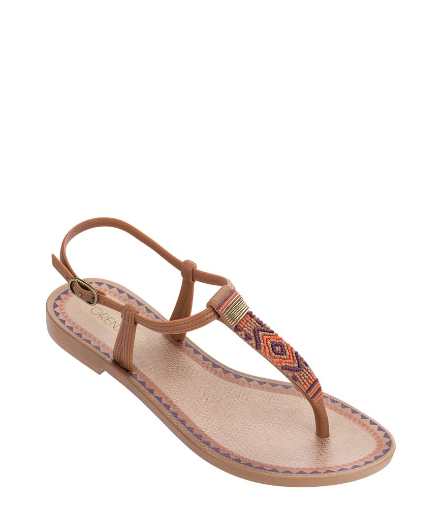 Acai ochre aztec fabric thong sandals
