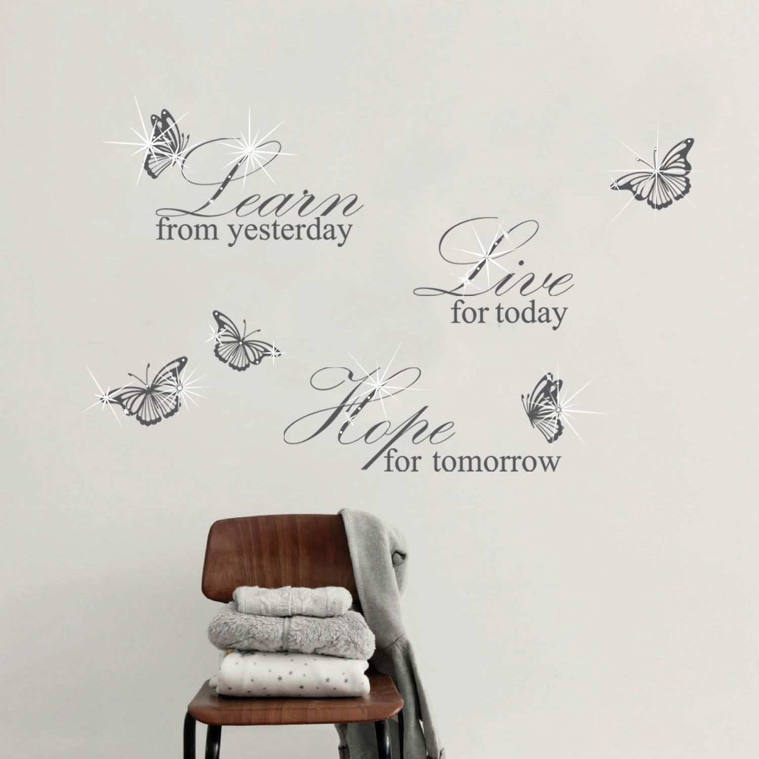 Wall Sticker Decal Grey Learn Live Hope Quote with Swarovski Crystals