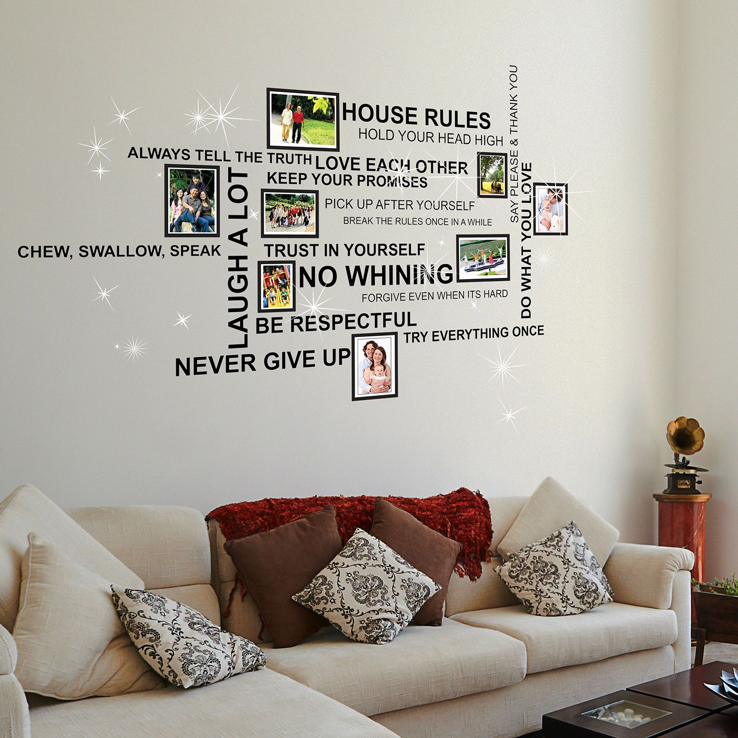 Saanvi House Rules Quote, Photo Frame Birdcage and Swarovski Wall Sticker