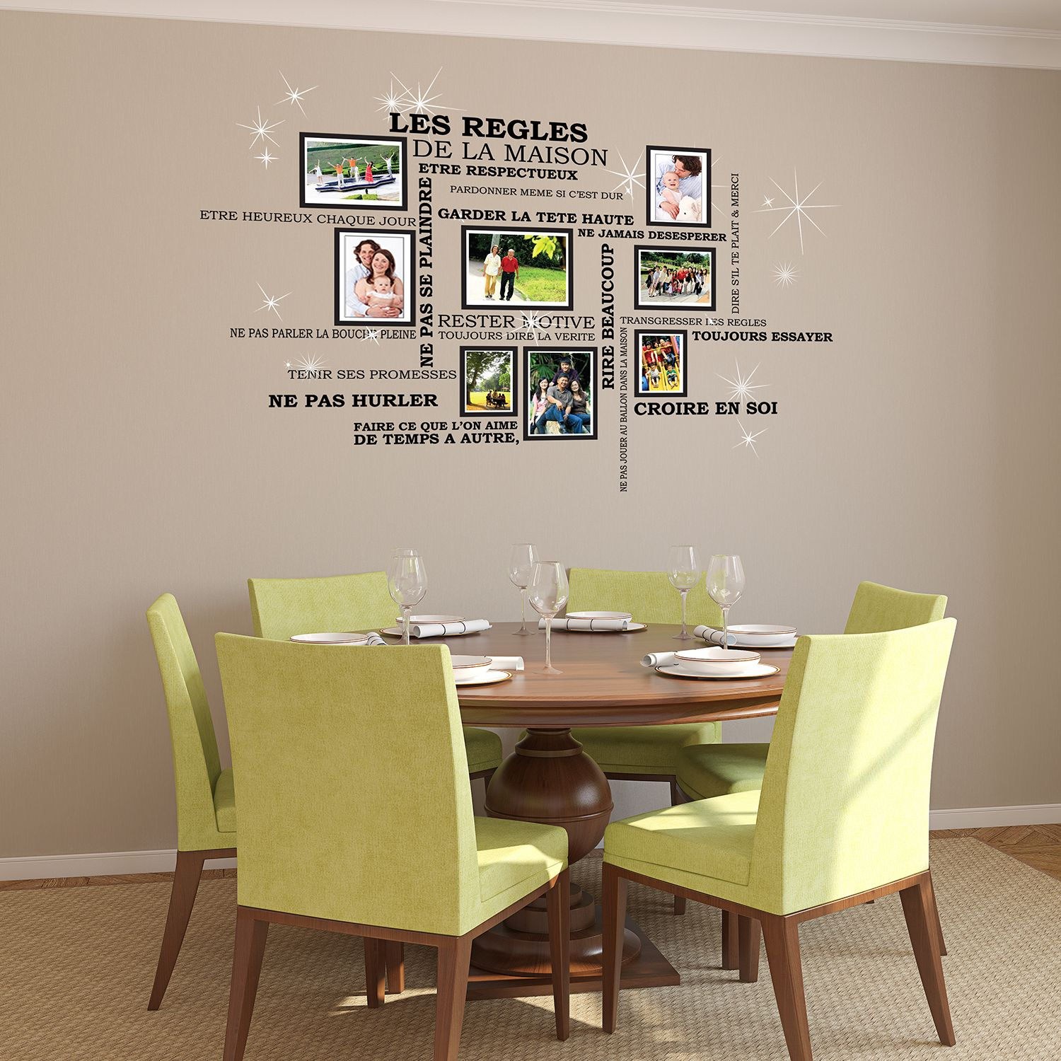 House Rules Quote, Photo Frame Birdcage and Swarovski Wall Sticker