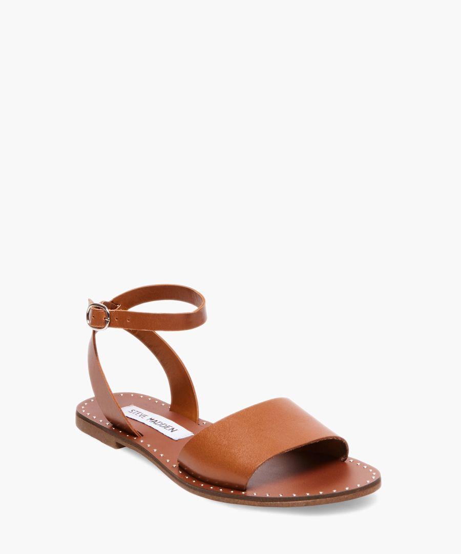 Danny cognac faux leather flat sandals