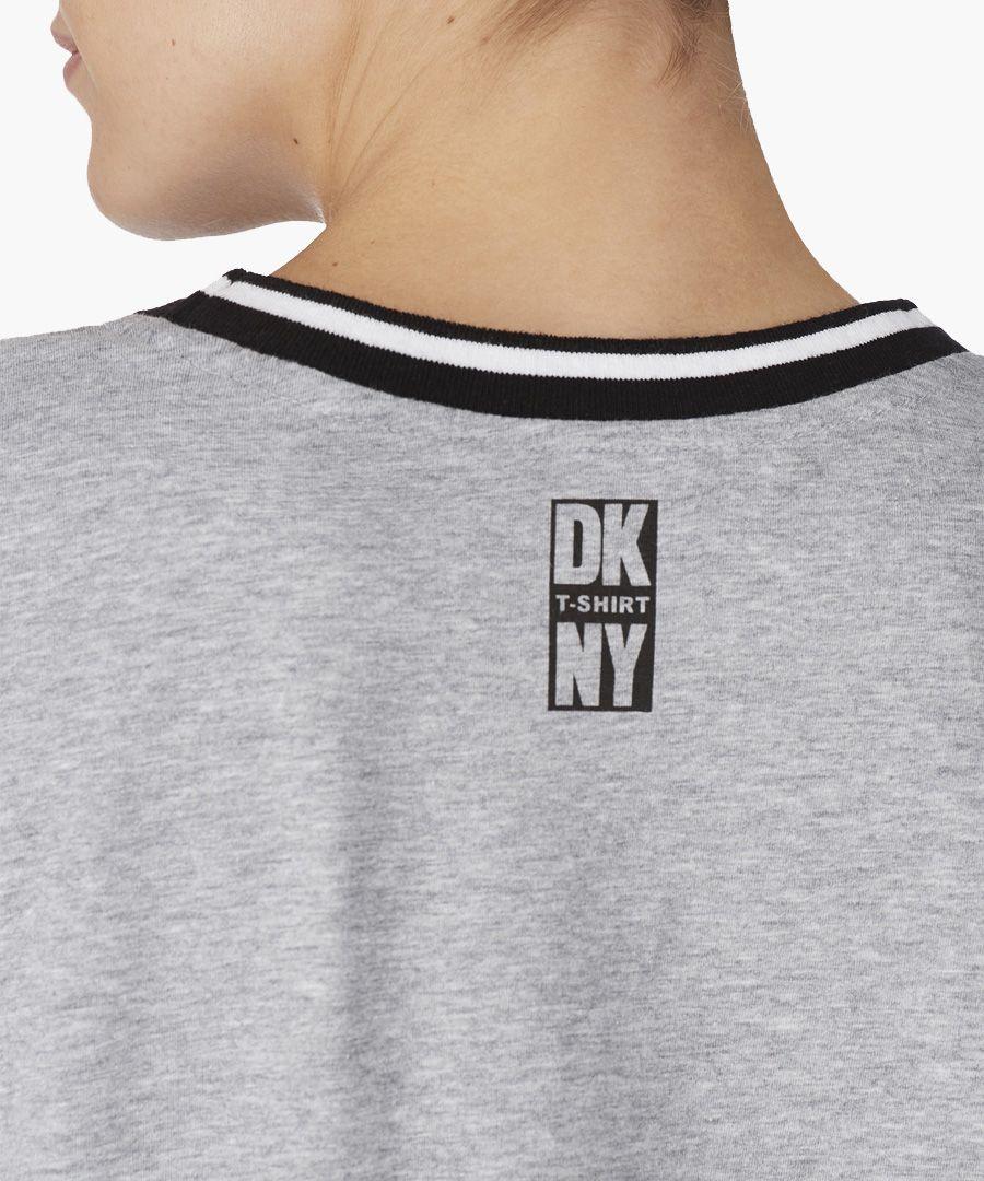 Grey cotton-blend logo print night top