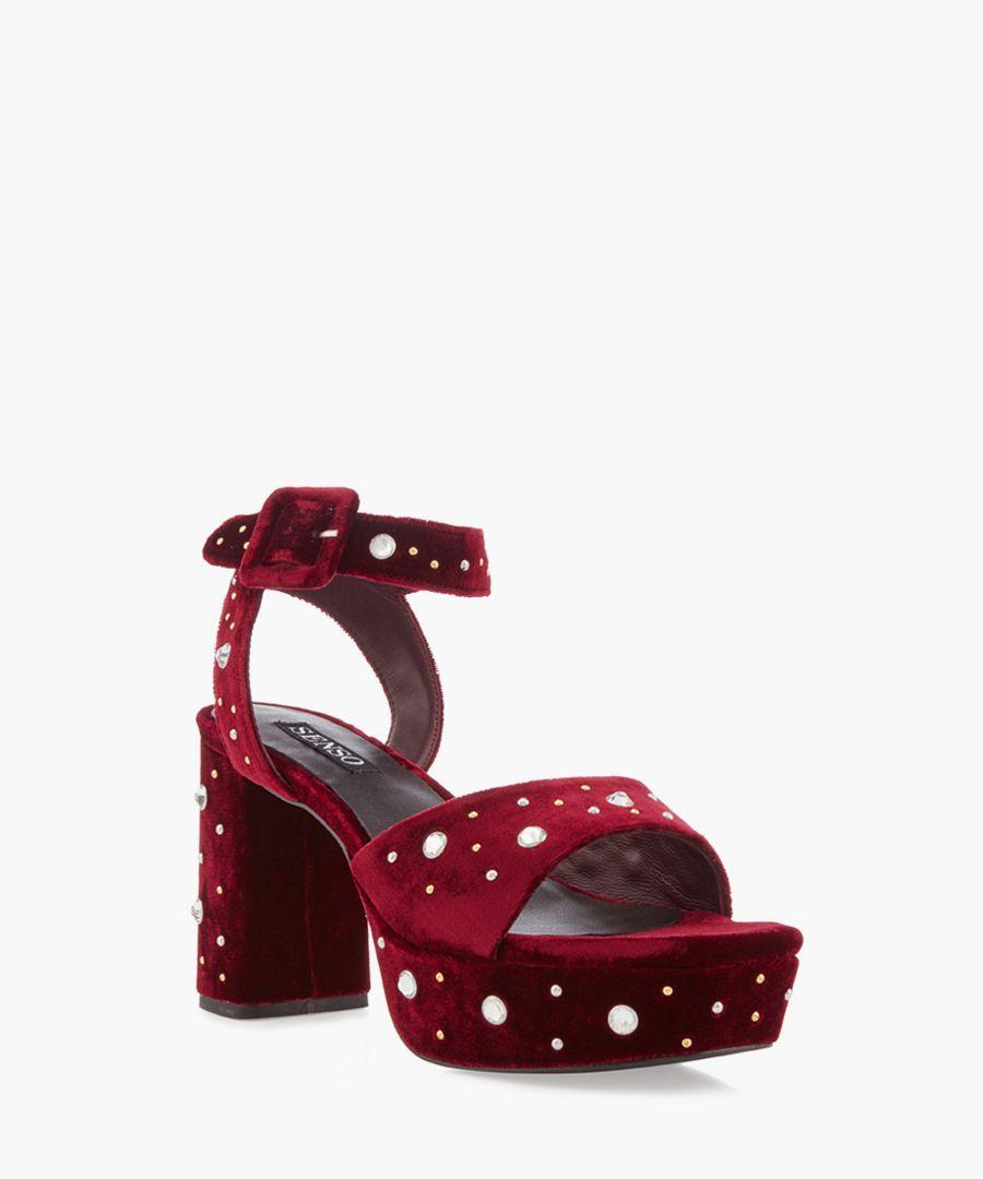 Idris wine velvet chunky heels