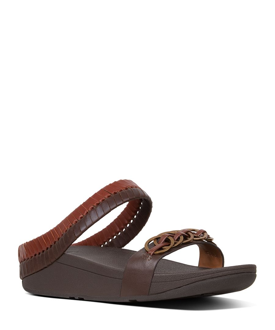 Cirque cognac and tan leather sandals