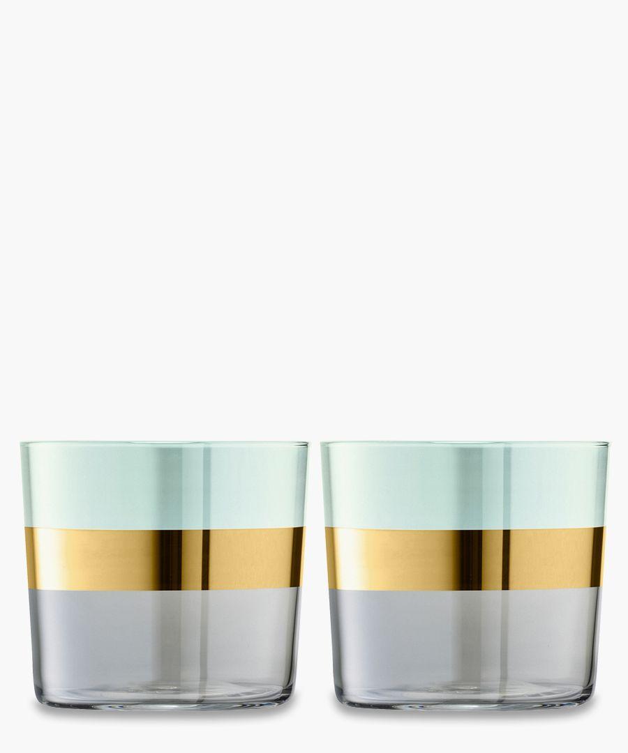 2pc Melon Bangle tumbler glass set