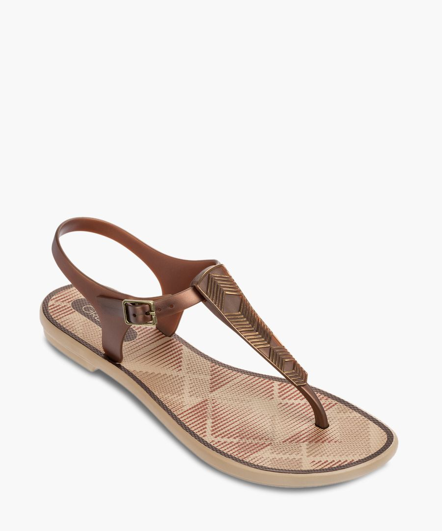 Romantic bronze-tone sandals