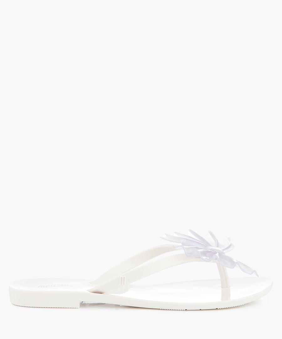 Harmonic Shimmer white fan flip flops