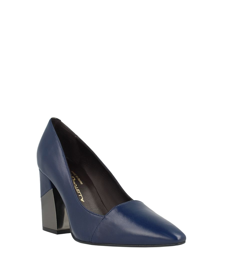 Navy leather pointed block heels