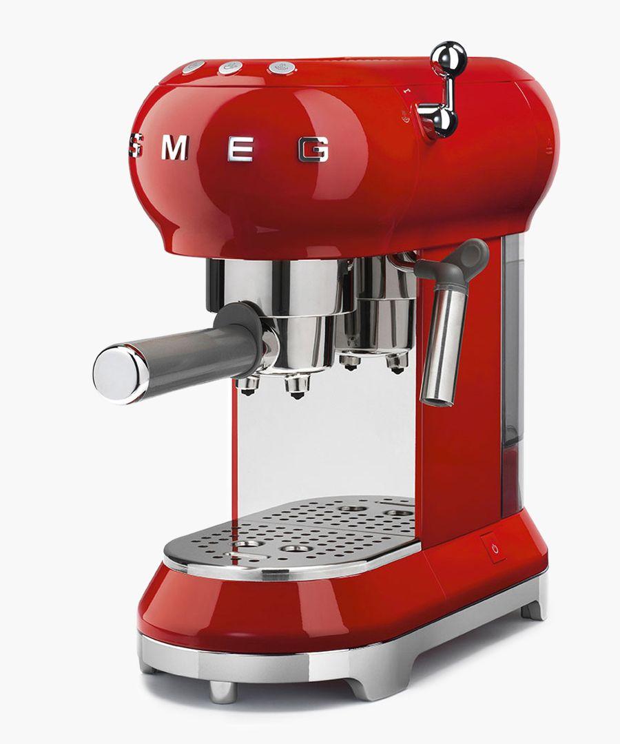 Red retro espresso machine
