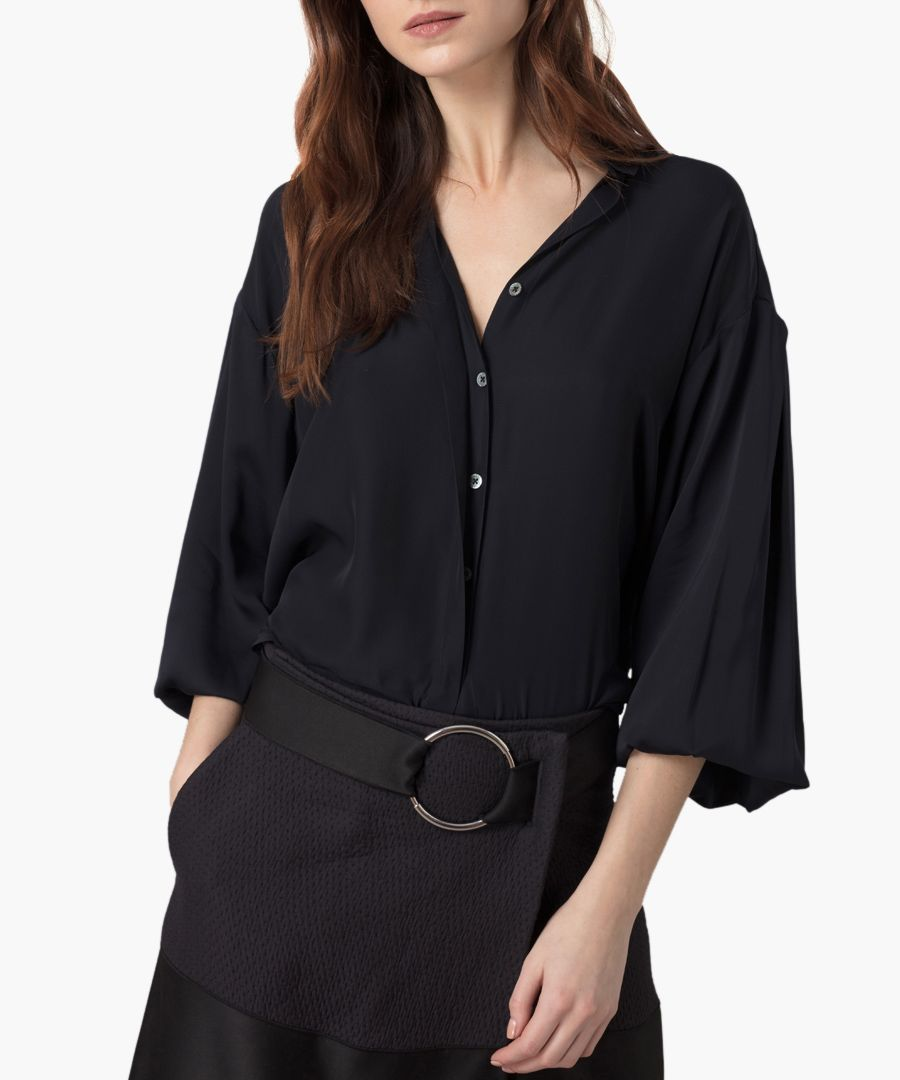 Midnight pure silk georgette blouse