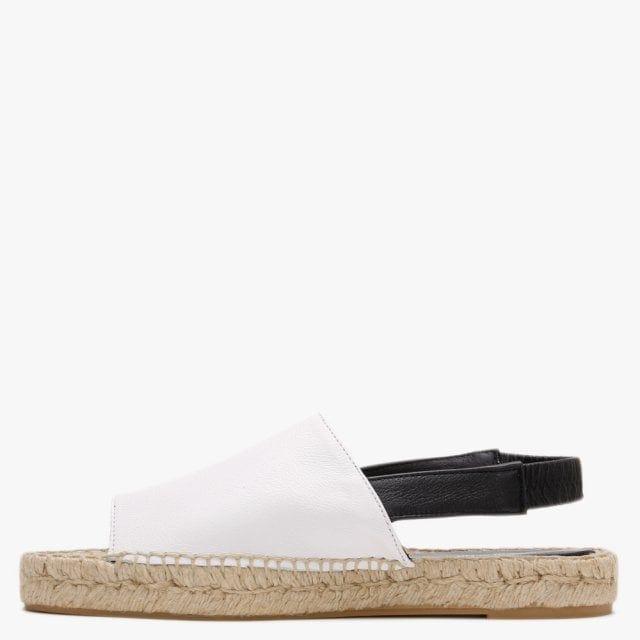 Carmen Saiz Leather Sling Back Flat Espadrille Sandals