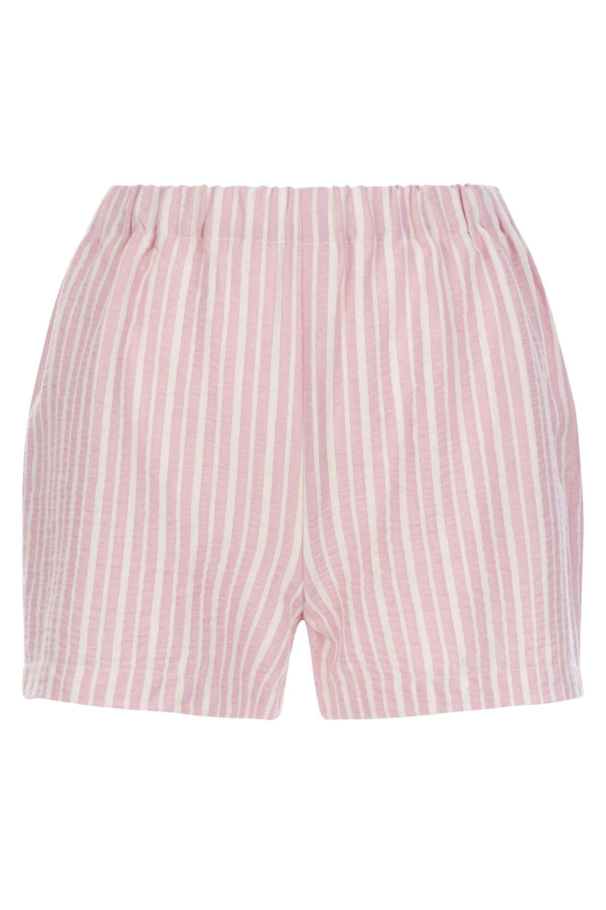 Curious Cotton Stripe Shorts in Pink