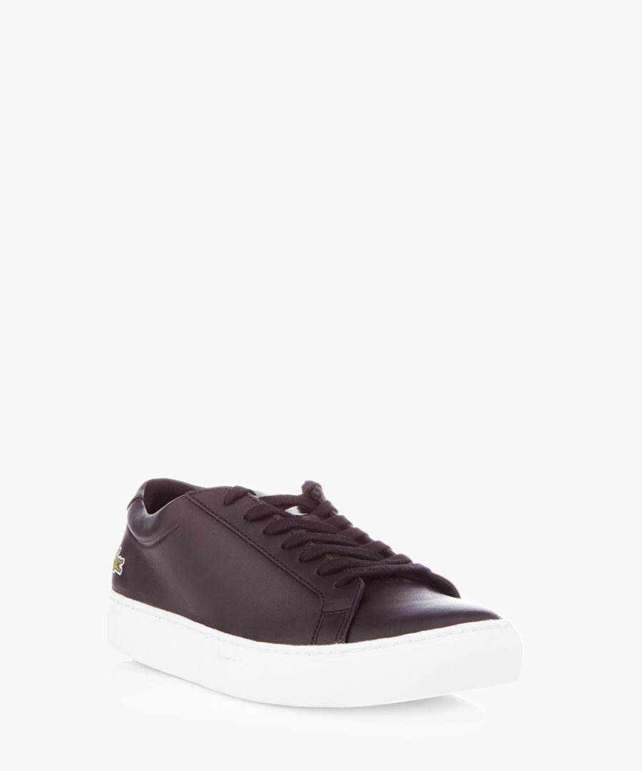 Black leather minimal trainers
