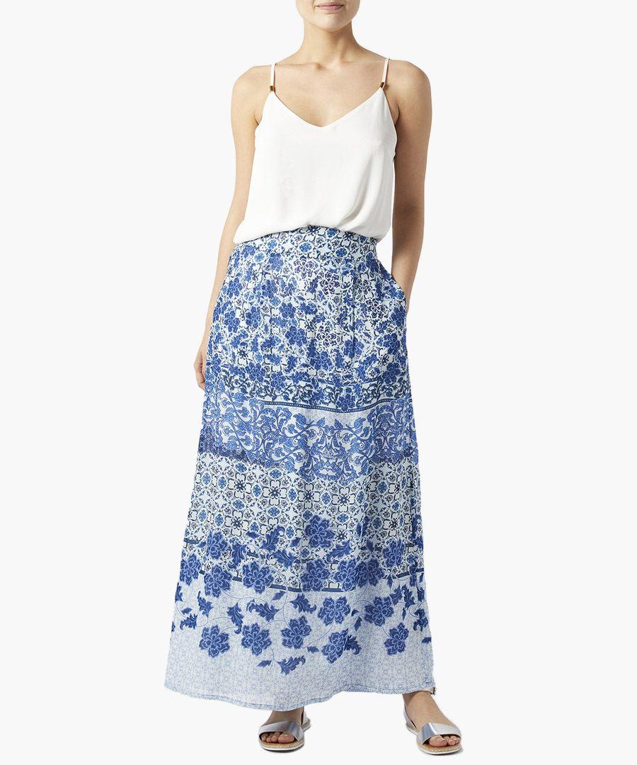 Riley blue print maxi skirt