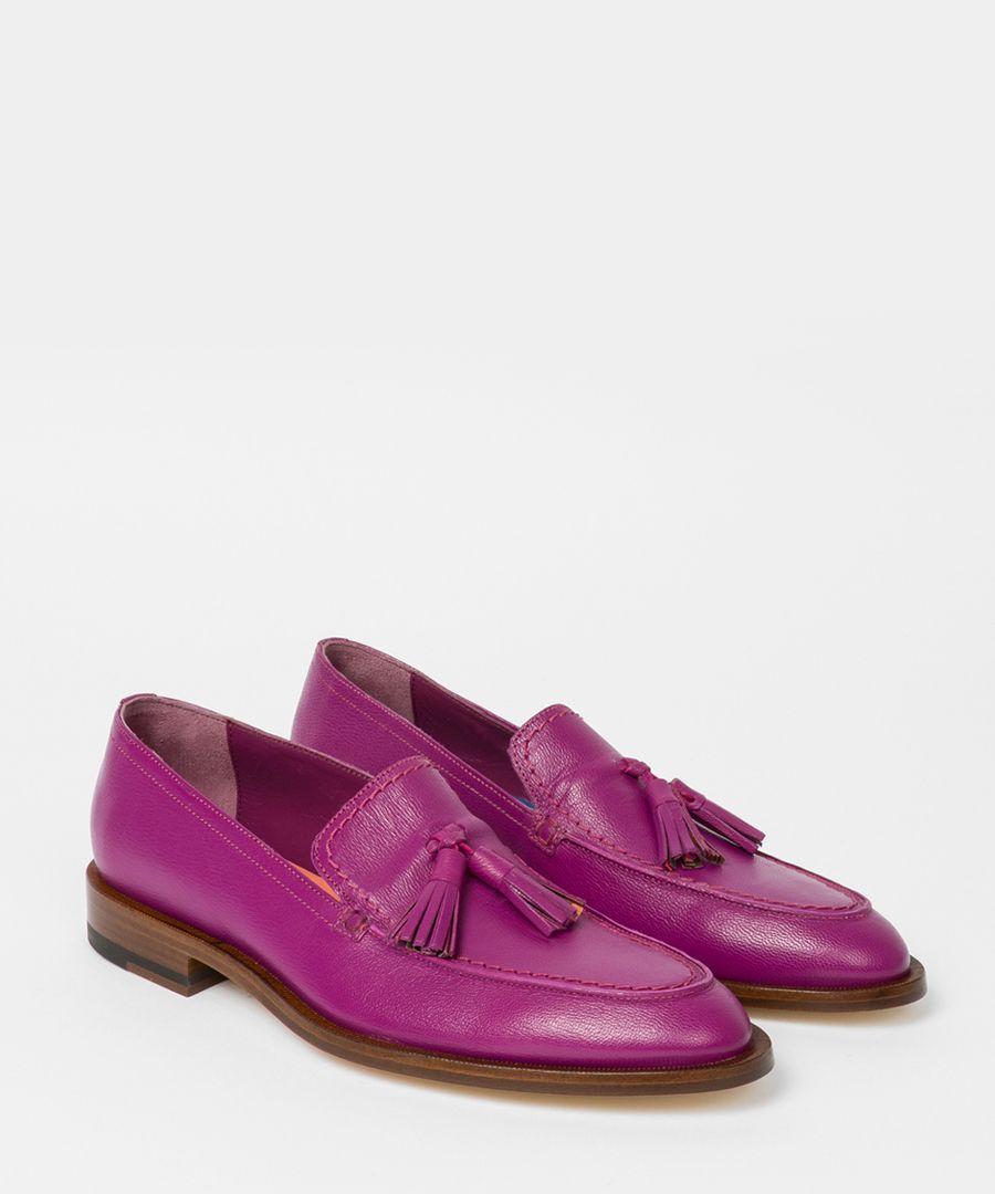 Purple leather tassel loafers