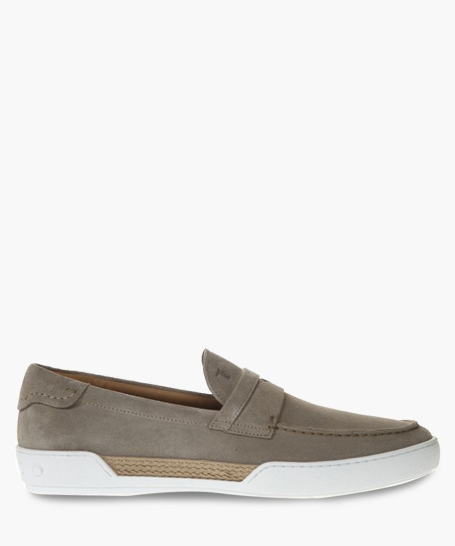 Taupe suede flat loafers