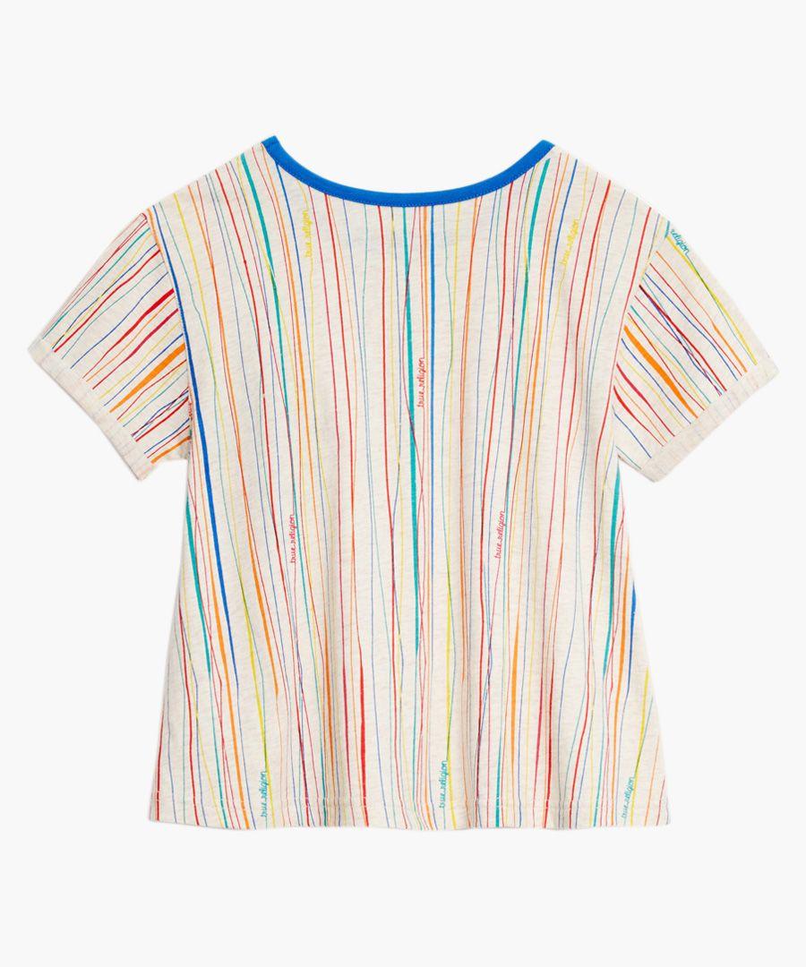Girls' striped patch T-shirt
