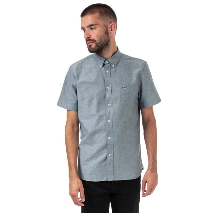 Men's Lacoste Regular Fit Short Sleeve Oxford Cotton Shirt in Blue