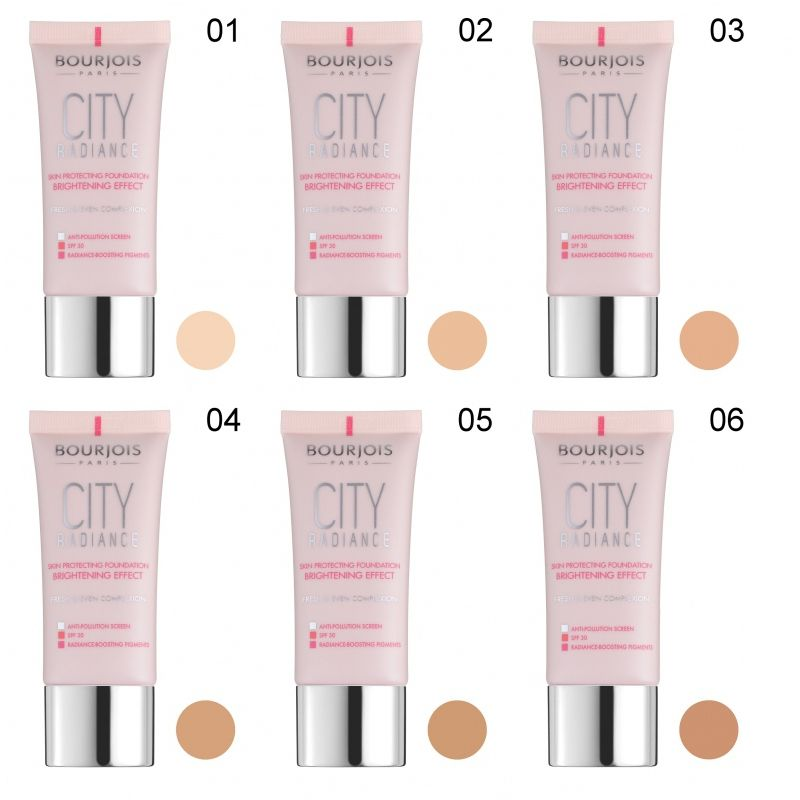 3 x Bourjois Paris City Radiance Foundation 30ml - 06 Golden Sun