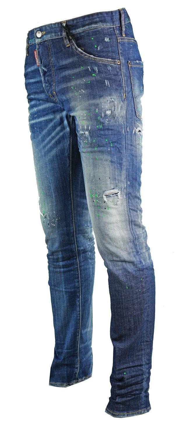 Dsquared2 Cool Guy Jean Blue Paint Effect Jeans