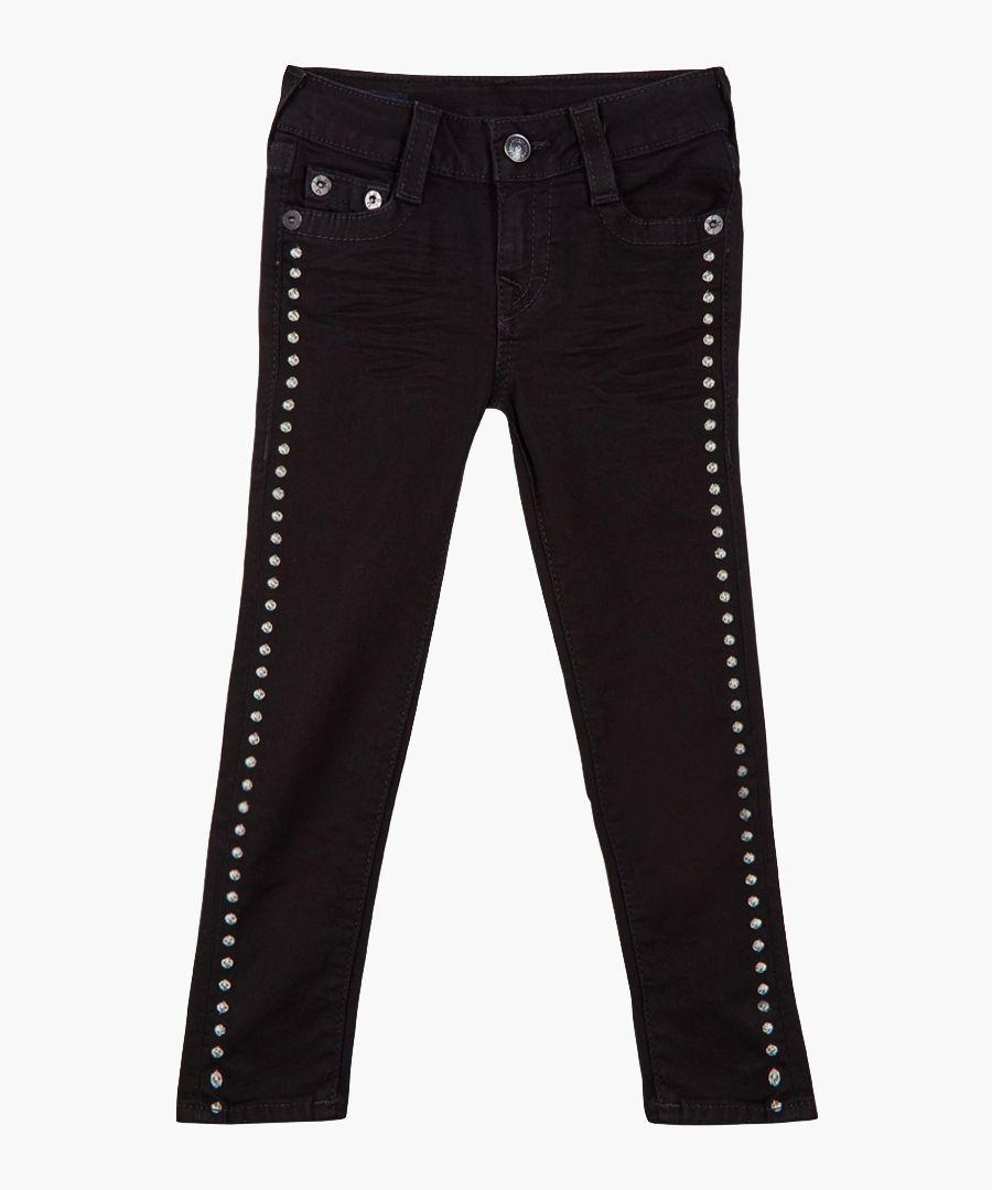 Girl's Casey black cotton blend jeans