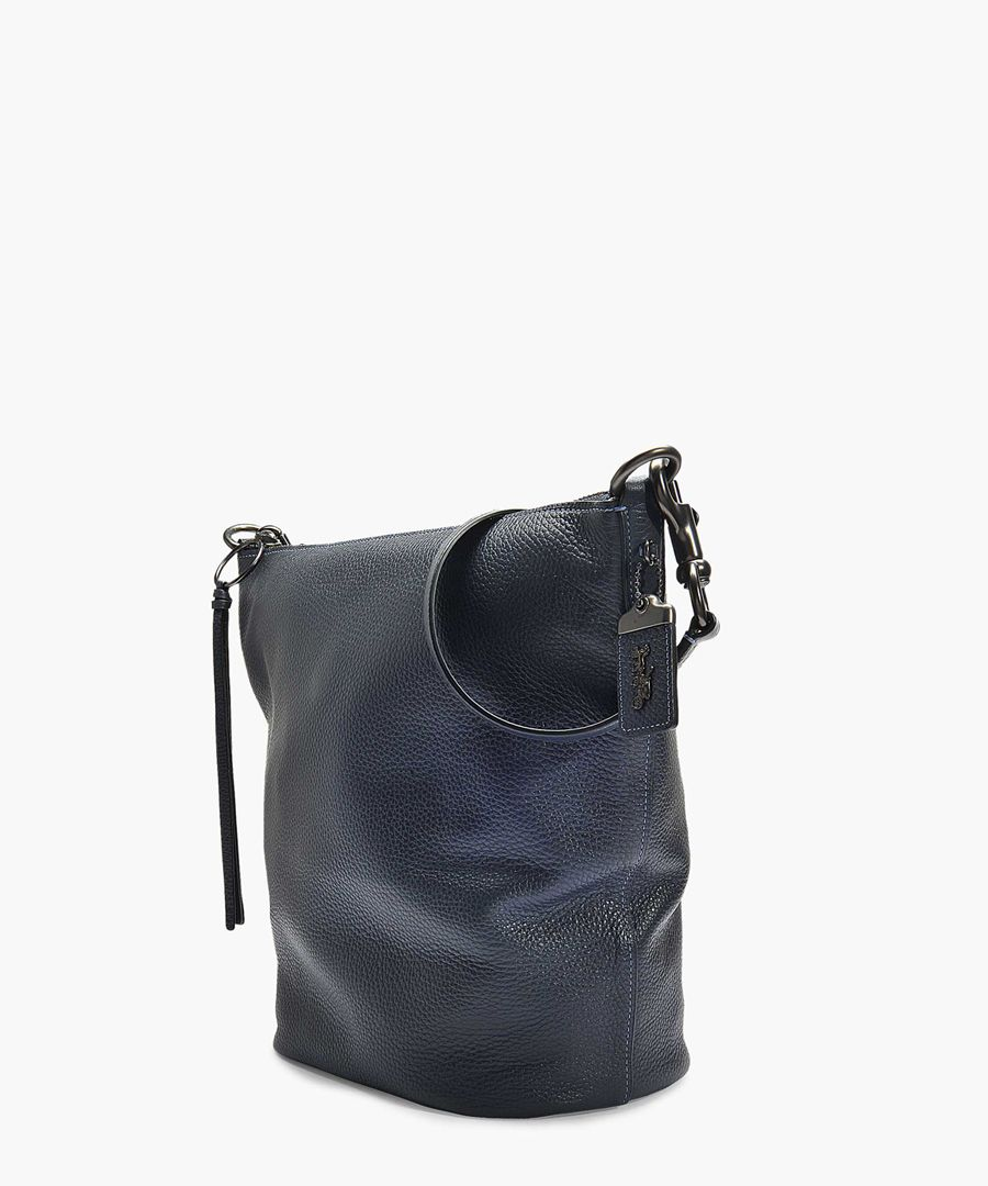 Navy blue leather duffle bag