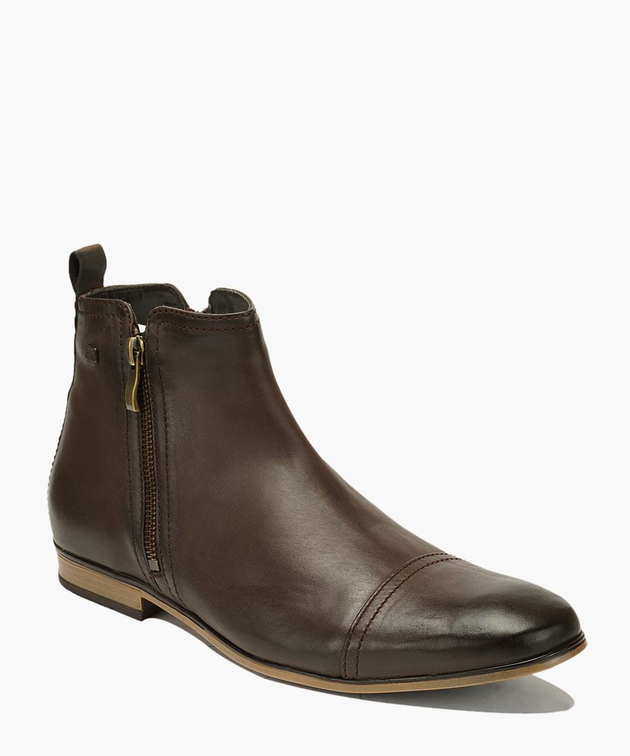 Brown leather zipped ankle boots